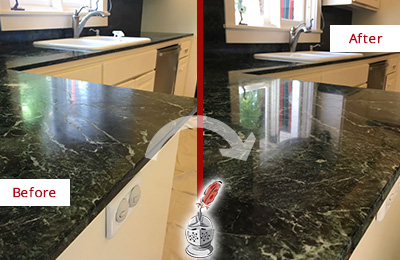 Before and After Picture of a Dripping Springs Marble Kitchen Countertop Honed to Remove Water Marks