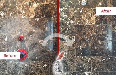 Before and After Picture of a Round Rock Marble Shower Honed to Remove Scratches