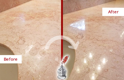 Before and After Picture of a Dripping Springs Marble Vanity Top Honed to Eliminate Water Spots
