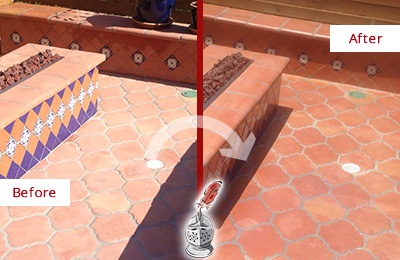 Before and After Picture of a Rollingwood Hard Surface Restoration Service on a Dull Terracotta Patio Floor to Recover Its Color