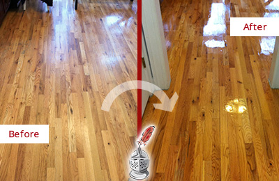 Before and After Picture of a Georgetown Hard Surface Restoration Service on a Worn Out Wood Floor