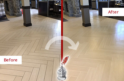Before and After Picture of a Buda Lobby Floor Cleaned to Even the Grout Color