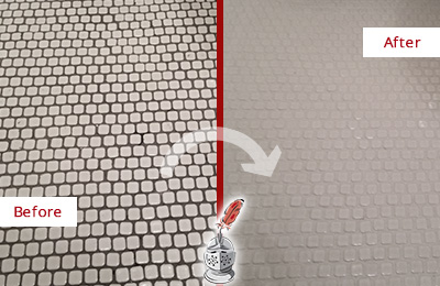 Before and After Picture of a Buda Mosaic Tile floor Grout Cleaned to Remove Dirt