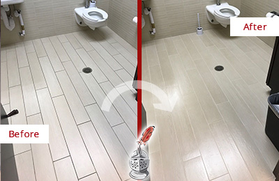 Before and After Picture of a Buda Office Restroom's Grout Cleaned to Remove Dirt