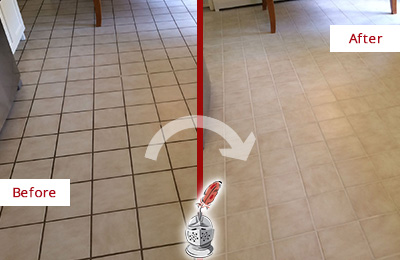 Before and After Picture of a Pflugerville Kitchen Tile Floor with Recolored Grout