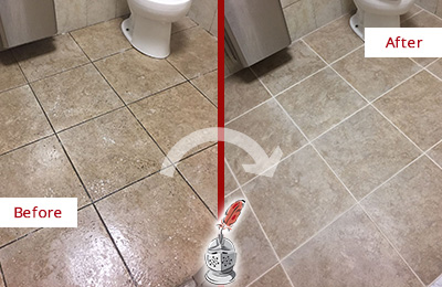 Before and After Picture of a Leander Office Restroom Floor Recolored Grout