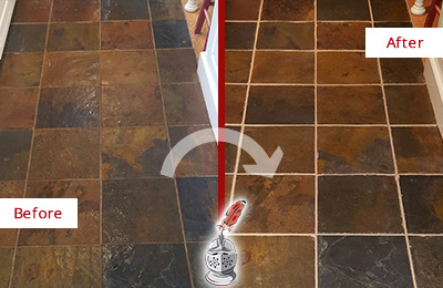 Before and After Picture of a Leander Slate Floor Recolored Grout