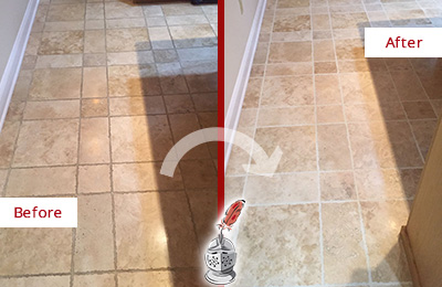 Before and After Picture of a Pflugerville Travertine Kitchen Floor Recolored Grout