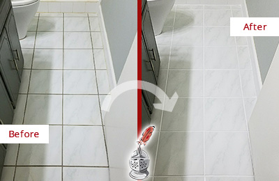 Before and After Picture of a Leander White Ceramic Tile with Recolored Grout