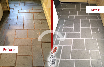 Before and After Picture of Damaged Leander Slate Floor with Sealed Grout