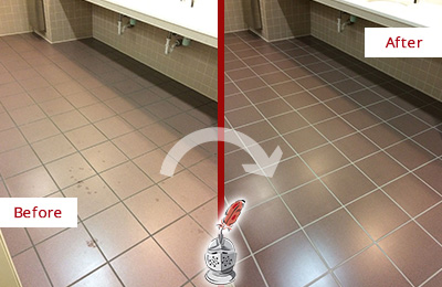 Before and After Picture of Dirty Leander Office Restroom with Sealed Grout