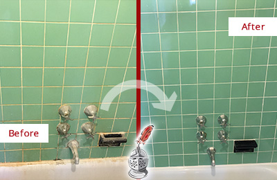 Before and After Picture of a Leander Bath Tub Grout Sealed to Avoid Water Damage