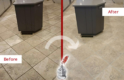 Before and After Picture of a Leander Kitchen Floor Grout Sealed to Remove Stains
