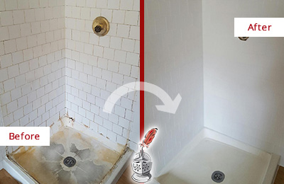 Before and After Picture of a Manor Shower Cleaned to Eliminate Mold